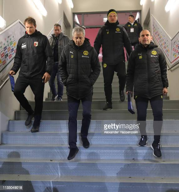Lucien Favre head coach of Dortmund walks down the stairs in the players tunnel at the start of the second half during the Bundesliga match between...