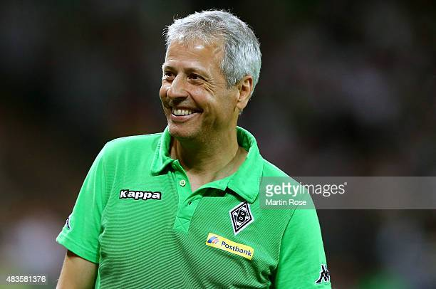 Lucien Favre head coach of Moenchengladbach looks on after the DFB Cup First Round match between FC StPauli and Borussia Moenchengladbach at...