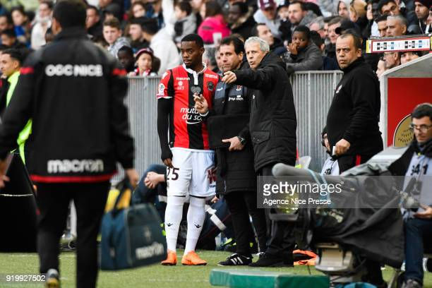 Lucien Favre head coach of Nice and Wylan Cyprien during the Ligue 1 match between OGC Nice and Nantes at Allianz Riviera on February 18 2018 in Nice