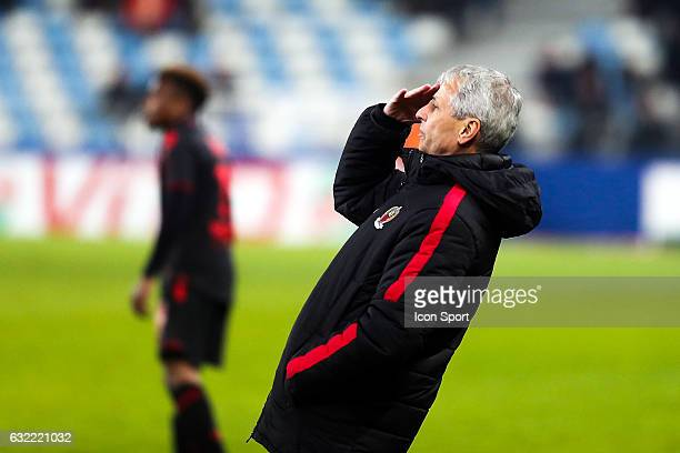 Lucien Favre head coach of Nice during the French Ligue 1 match between Bastia and Nice at Stade Armand Cesari on January 21 2017 in Bastia France