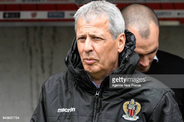 Lucien Favre head coach of Nice during the Ligue 1 match between OGC Nice and Stade Rennes at Allianz Riviera on April 8 2018 in Nice