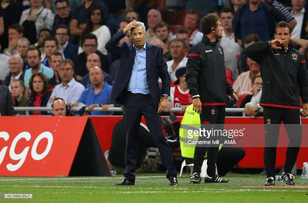 Lucien Favre manager / head coach of OGC Nice during the UEFA Champions League Qualifying Third Round match between Ajax and OSC Nice at Amsterdam...