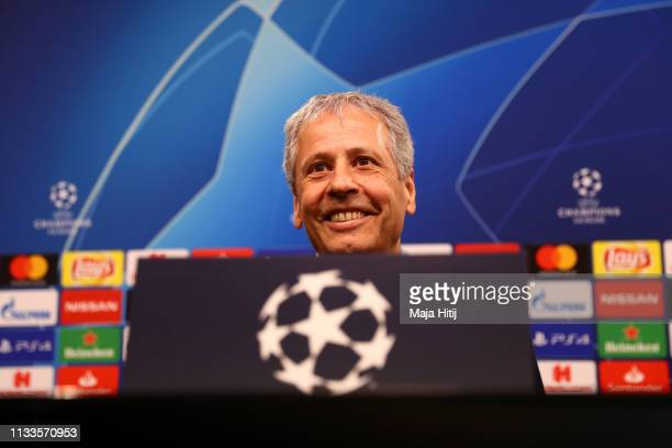 Lucien Favre Manager of Borussia Dortmund attends a Borussia Dortmund Press Conference ahead of their UEFA Champions League Round of 16 Second Leg...