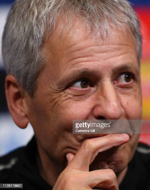 Lucien Favre Manager of Borussia Dortmund looks on during a Borussia Dortmund press conference at Wembley Stadium on February 12 2019 in London...