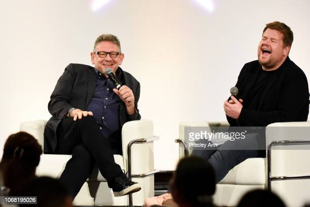 Lucien Grange and James Corden attend The Hollywood Chamber's 7th Annual State Of The Entertainment Industry Conference Presented By Variety at Loews...