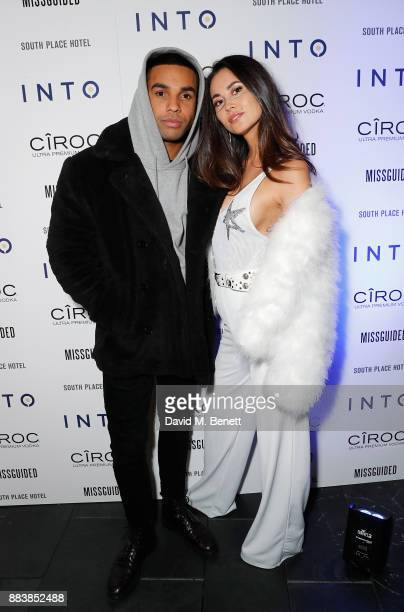 Lucien Laviscount and Ana Tanaka attend INTO Christmas Party sponsored by CIROC Vodka on December 1 2017 in London England