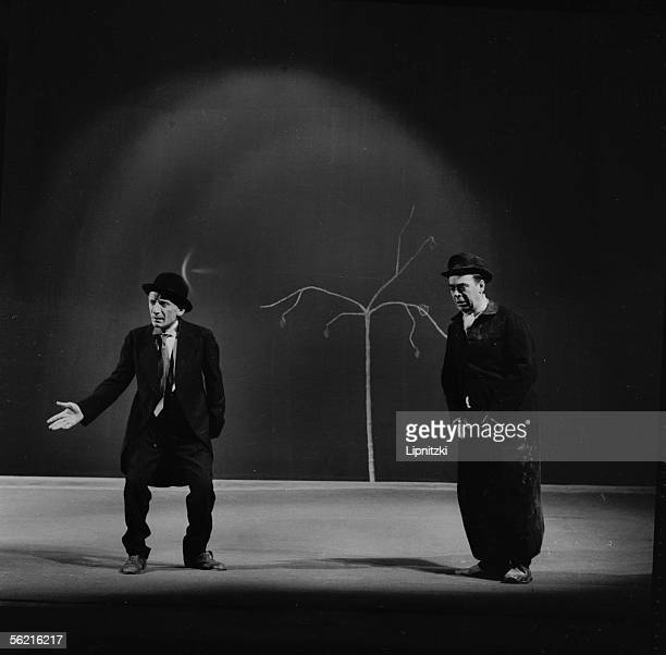 Lucien Raimbourg and Etienne Bierry in 'Waiting for Godot' of Samuel Beckett Production JeanMarie Serreau Paris theatre of Odeon 1961