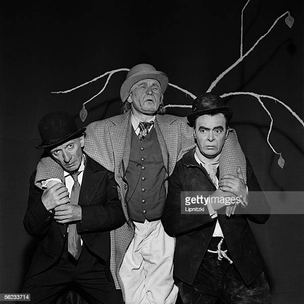 Lucien Raimbourg JeanJacques Bourgeois and Etienne Bierry in 'Waiting for Godot' of Samuel Beckett Paris theatre of the Odeon May 1961 LIP111012300
