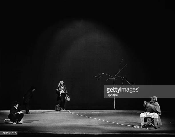 Lucien Raimbourg JeanJacques Bourgeois Jean Martin and Etienne Bierry in 'Waiting for Godot' of Samuel Beckett Paris theatre of the Odeon May 1961...