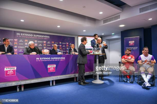 Lucien SIMON and Jean-Marc MANDUCHER during the press conference of the presentation of the World Rugby Sevens Series 2019-2020 on January 7, 2020 in...