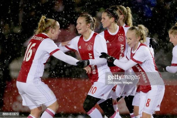 Lucienne Reichardt of Ajax Women, Desiree van Lunteren of Ajax Women, Inessa Kaagman of Ajax Women during the Dutch Eredivisie Women match between...