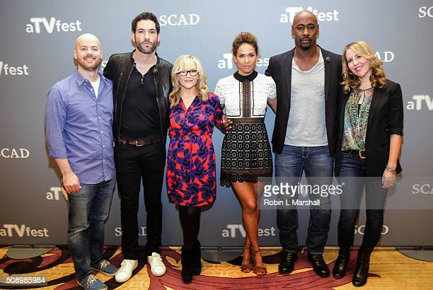 Lucifer Cast Members Tom Ellis Rachael Harris LesleyAnn Brandt DB Woodside Executive Producer Joe Henderson and Executive Producer IIdy Modrovich...