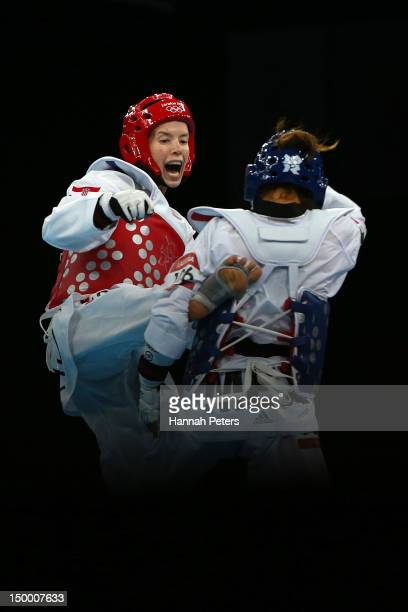 Lucija Zaninovic of Croatia competes against Jannet Alegria Pena of Mexico during the Women's 49kg Taekwondo bronze medal match on Day 12 of the...