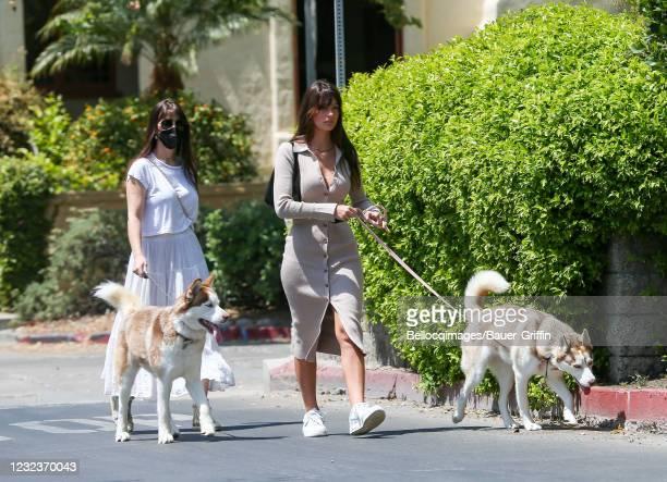 Lucila Sola and Camila Morrone are seen on April 17, 2021 in Los Angeles, California.