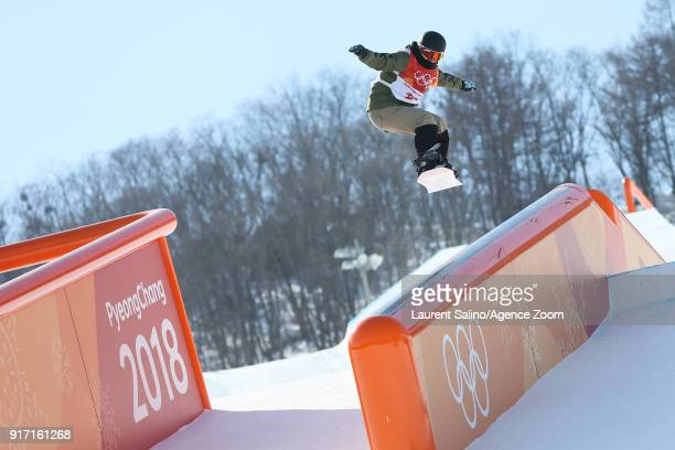 Lucile Lefevre of France competes during the Snowboarding Women's Slopestyle Finals at Pheonix Snow Park on February 12 2018 in Pyeongchanggun South...