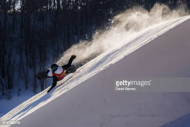 Lucile Lefrevre of France crashes during a slope style training session ahead of the PyeongChang 2018 Winter Olympic Games at Bokwang Phoenix Snow...
