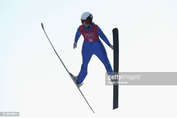 Lucile Morat of France jumps during Ski Jumping Practice at Alpensia Ski Jumping Centre on February 8 2018 in Pyeongchanggun South Korea