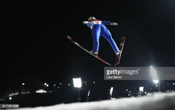 Lucile Morat of France makes a trial jump during the Ladies' Normal Hill Individual Ski Jumping Final on day three of the PyeongChang 2018 Winter...