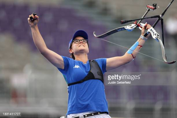 Lucilla Boari of Team Italy celebrates after winning the bronze medal in the archery Women's Individual competition on day seven of the Tokyo 2020...