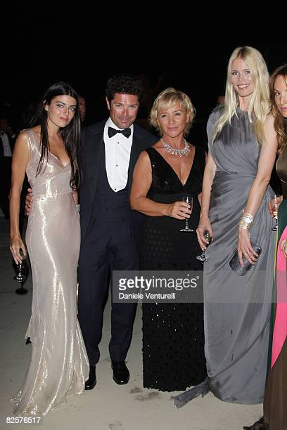Lucilla Bonaccorsi Matteo Marzotto Alberta Ferretti andClaudia Schiffer attend the Official Dinner during the 65th Venice Film Festival held at the...