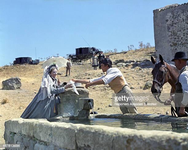Lucilla Morlacchi e l'attore francese Alain Delon dressed in ancient clothes in The Leopard directed by Italian director Luchino Visconti 1963