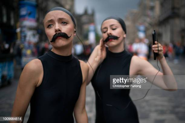 Lucille and Cecilia promote their Sea Lion Play on the Royal Mile for the Edinburgh Festival Fringe on August 2 2018 in Edinburgh Scotland The...