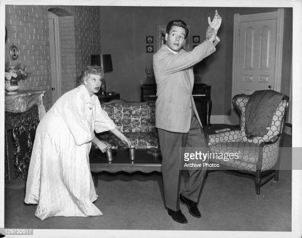 Lucille Ball and Desi Arnaz in their living room set on the television series 'I Love Lucy', 1951.