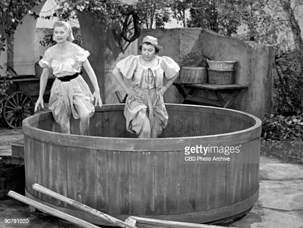 Lucille Ball as Lucy Ricardo and Teresa Tirelli as Wine Stomper in Lucy's Italian Movie April 16 1956 Season 5 episode 23