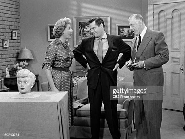 Lucille Ball as Lucy Ricardo Vivian Vance as Ethel Mertz Desi Arnaz as Ricky Ricardo and Shepard Menken as William Abbott in the I LOVE LUCY episode...