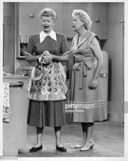 Lucille Ball cries as Vivian Vance tries to console her in the television series 'I Love Lucy', 1951.