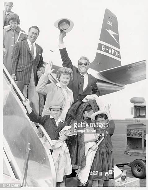 Lucille Ball Desi Arnaz and their children Lucie and Desi photographed when they returned from Europe