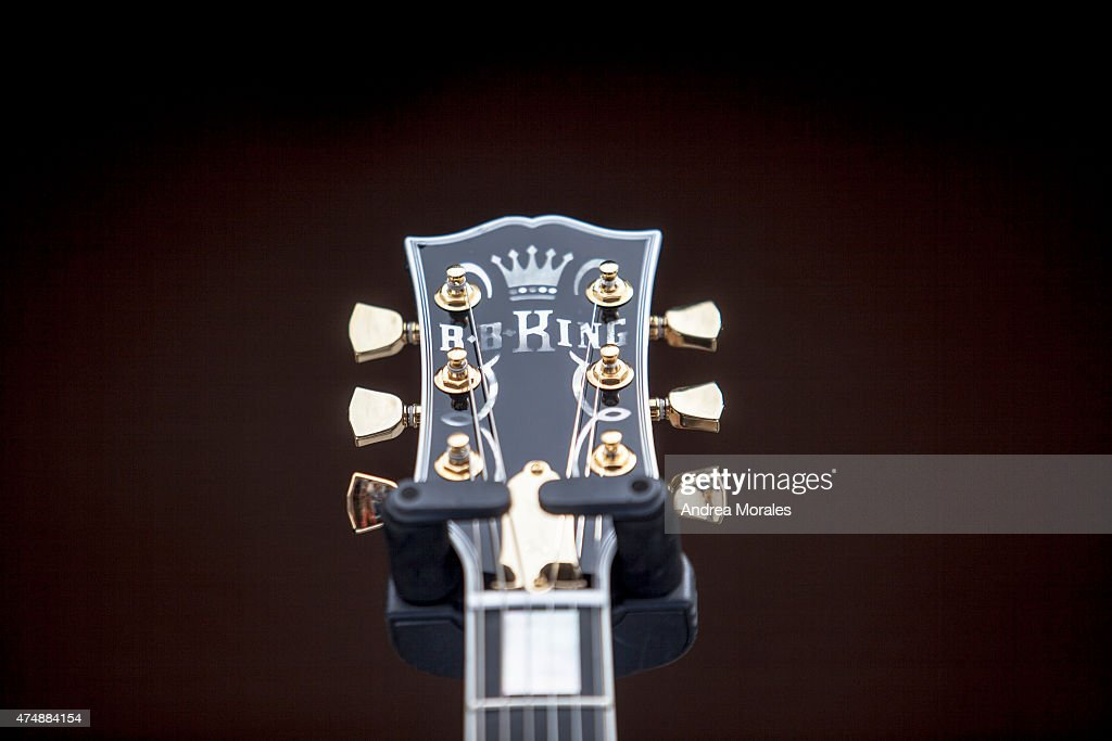 Lucille, one of B.B. King's beloved guitars, sits on stage at the memorial in honor of B.B. King on May 27, 2015 in Memphis, Tennessee. King passed away on May 14, 2015 at the age of 89.