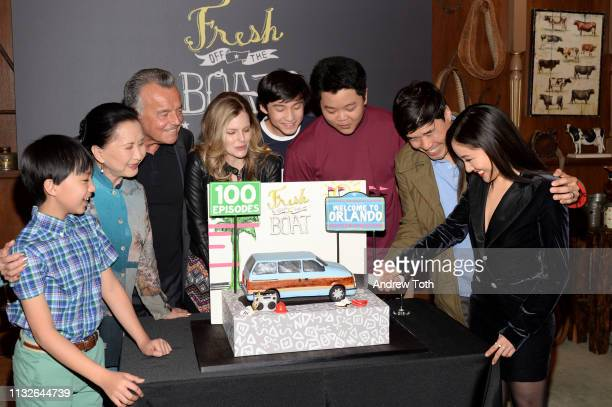 Lucille Soong Ray Wise Chelsey Crisp Forrest Wheeler Ian Chen Hudson Yang Randall Park and Constance Wu attend the 'Fresh Off The Boat' 100th episode...