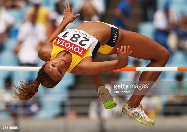 Lucimara da Silva of Brazil competes in the High Jump during the Women's Heptathlon on day one of the 11th IAAF World Athletics Championships on...