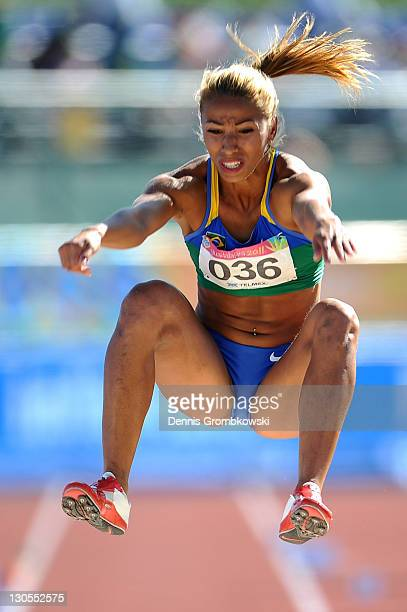 Lucimara Da Silva of Brazil competes in the women's heptathlon long jump during Day 12 of the XVI Pan American Games at Telmex Stadium on October 26...