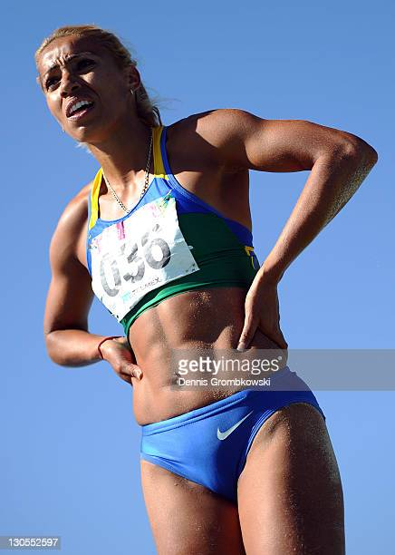 Lucimara Da Silva of Brazil looks on as she competes in the women's heptathlon long jump during Day 12 of the XVI Pan American Games at Telmex...