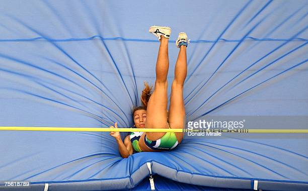 Lucimara Silva of Brazil competes in the High Jump portion of the Heptathlon event during the 2007 XV Pan American Games at the Joao Havelange...