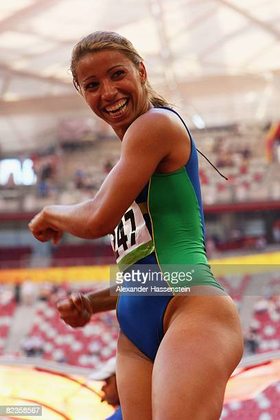 Lucimara Silva of Brazil competes in the Women's Heptathlon High Jump Final at the National Stadium on Day 7 of the Beijing 2008 Olympic Games on...