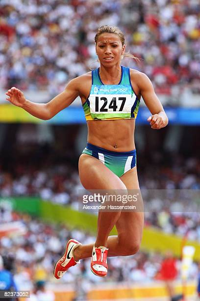 Lucimara Silva of Brazil competes in the Women's Heptathlon Long Jump Final at the National Stadium on Day 8 of the Beijing 2008 Olympic Games on...