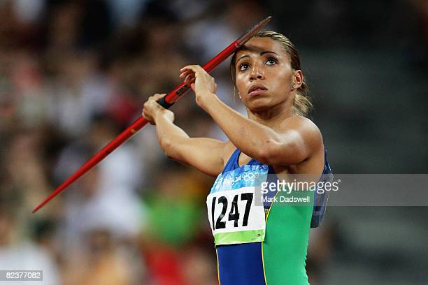 Lucimara Silva of Brazil competes in Women's Heptathlon Javelin Throw at the National Stadium on Day 8 of the Beijing 2008 Olympic Games on August 16...