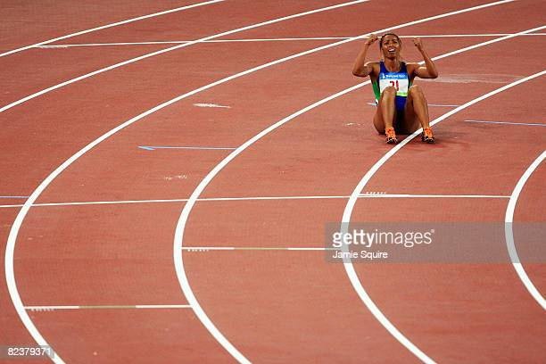 Lucimara Silva of Brazil finishes the Women's Heptathlon 800m Final at the National Stadium on Day 8 of the Beijing 2008 Olympic Games on August 16...