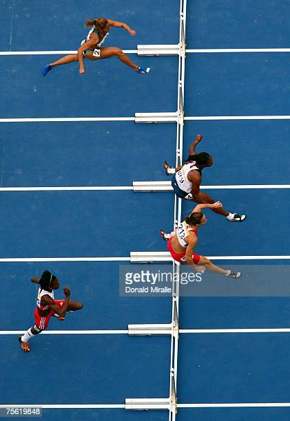 Lucimara Silva of Brazil, Virginia Johnson of the United States of America, Jessica Zelinka of Canada and Gretchen Quintana of Cuba compete in the...