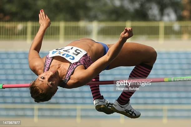 Lucimara Silvestre da Silva from Brazil competes in the High Jump event of the Heptathlon during the second day of the Trofeu Brazil/Caixa 2012 Track...