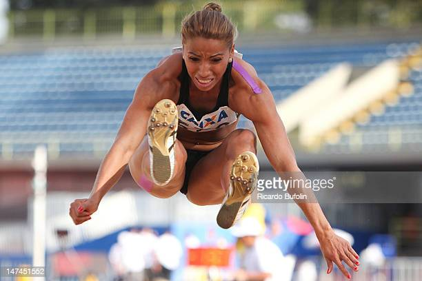 Lucimara Silvestre da Silva from Brazil competes in the High Jump event of the Heptathlon during the third day of the Trofeu Brazil/Caixa 2012 Track...