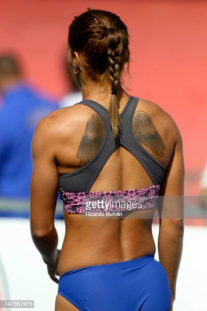 Lucimara Silvestre da Silva of Brazil competes in the event of the heptathlon high jump during the second day of the Trofeu Brasil / Caixa Athletics...