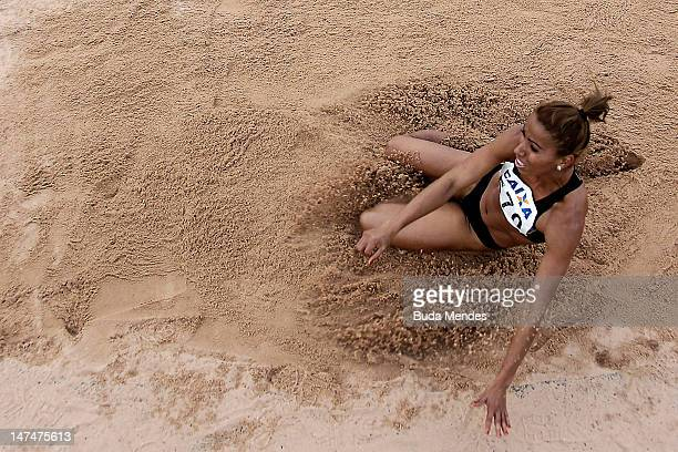 Lucimara Silvestre da Silva of Brazil competes in the womens jump distanceheptathlon event during the third day of the Trofeu Brazil/Caixa 2012 Track...