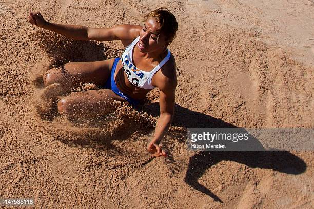 Lucimara Silvestre da Silva of Brazil competes in the womens jump distance event during the fifth day of the Trofeu Brazil/Caixa 2012 Track and Field...