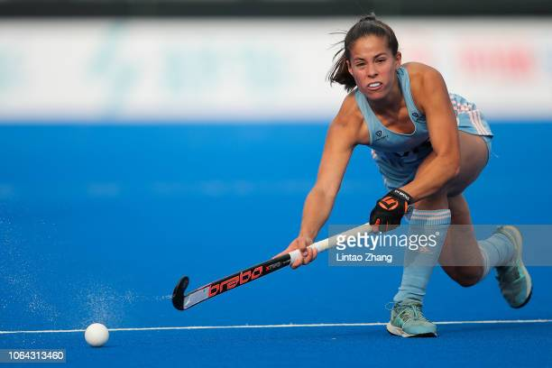 Lucina von der Heyde of Argentina controls the ball during the FIH Champions Trophy match between Argentina and Japan on November 22 2018 in...