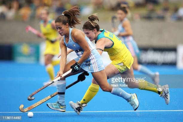 Lucina von der Heyde of Argentina runs with the ball during the Women's FIH Field Hockey Pro League match between Australia and Argentina at Sydney...