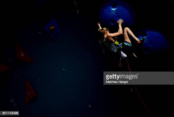 Lucinda Ann Stirling of Australia competes during the Sport Climbing Lead Single Women's Qualification of The World Games at the New Market Square on...